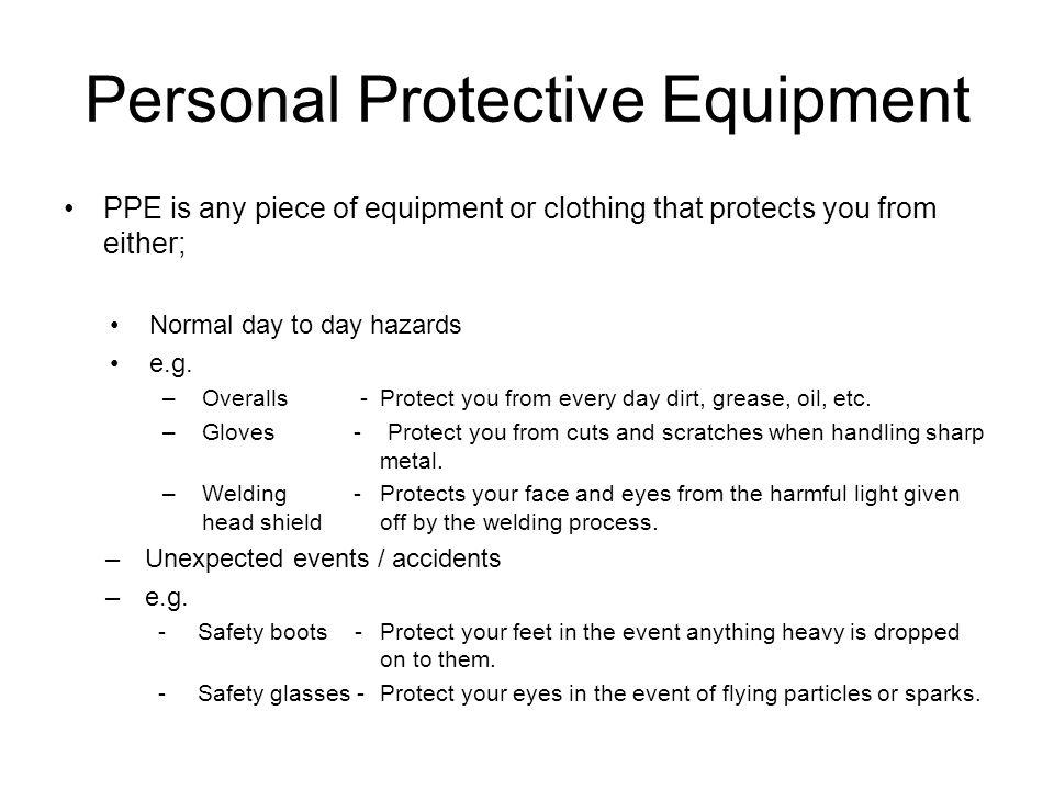 P.P.E.– Respiratory protection Oranganic Vapour / Particulate Respirator.