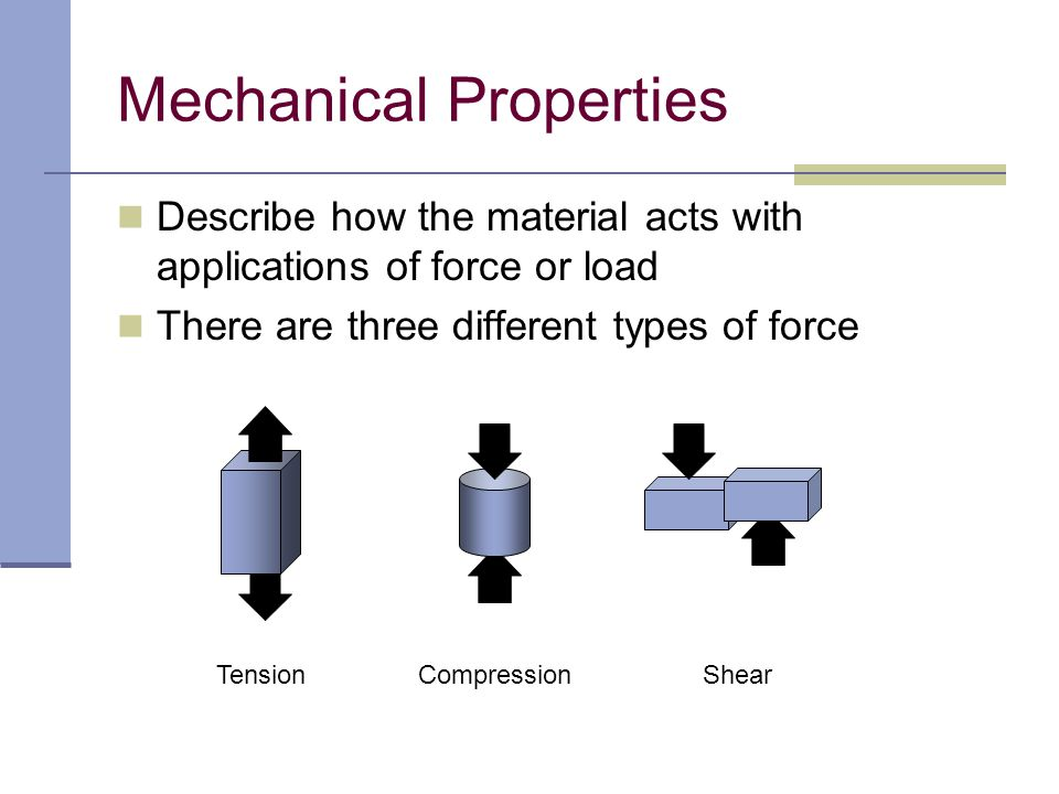 Describe how the material acts with applications of force or load There are three different types of force Mechanical Properties TensionCompressionShe