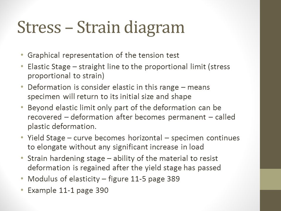 Stress – Strain diagram Graphical representation of the tension test Elastic Stage – straight line to the proportional limit (stress proportional to strain) Deformation is consider elastic in this range – means specimen will return to its initial size and shape Beyond elastic limit only part of the deformation can be recovered – deformation after becomes permanent – called plastic deformation.