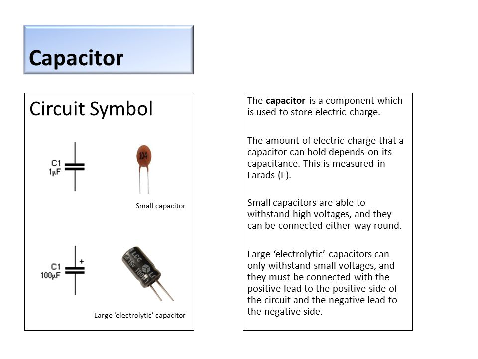 Capacitor Circuit Symbol The capacitor is a component which is used to store electric charge.