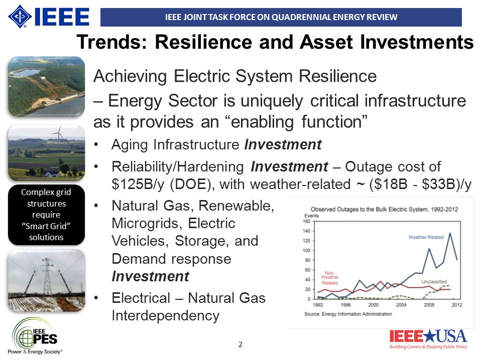 IEEE JOINT TASK FORCE ON QUADRENNIAL ENERGY REVIEW 13 Asset Strategies 2 (3) Key substations and Switchyards –The correct level of security needs to be determined via a triage process under which utilities protect their most valuable resources –Recovery from attack is impeded by long lead-time to obtain transformers and other components.