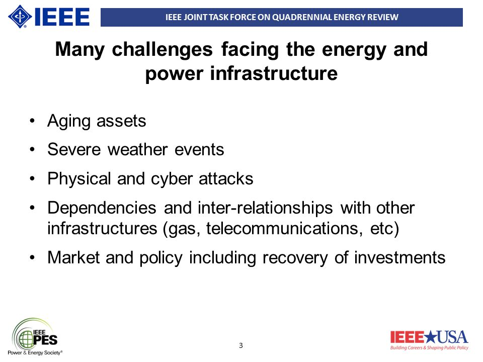 IEEE JOINT TASK FORCE ON QUADRENNIAL ENERGY REVIEW 14 Asset Strategies 3 (3) Controls and Communications –Increase R&D so as to increase security without decreasing reliability and functionality –Federal outreach and awareness and the development of standard requirements, e.g.