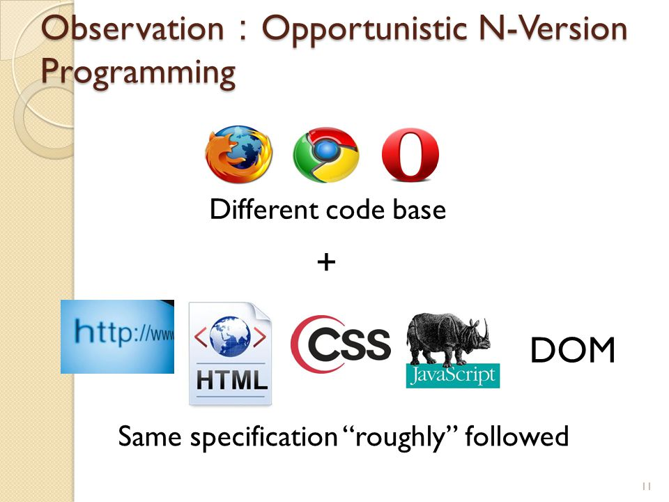 "Observation : Opportunistic N-Version Programming 11 DOM Same specification ""roughly"" followed Different code base +"