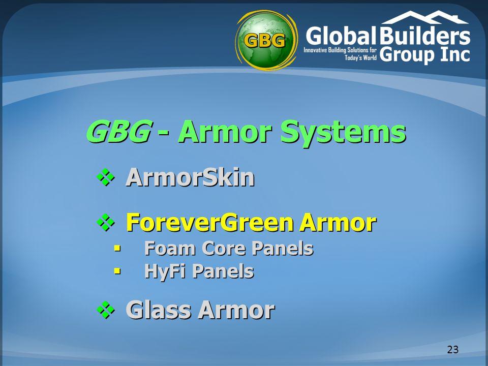 GBG - Armor Systems 23  ArmorSkin  ForeverGreen Armor  Foam Core Panels  HyFi Panels  Glass Armor