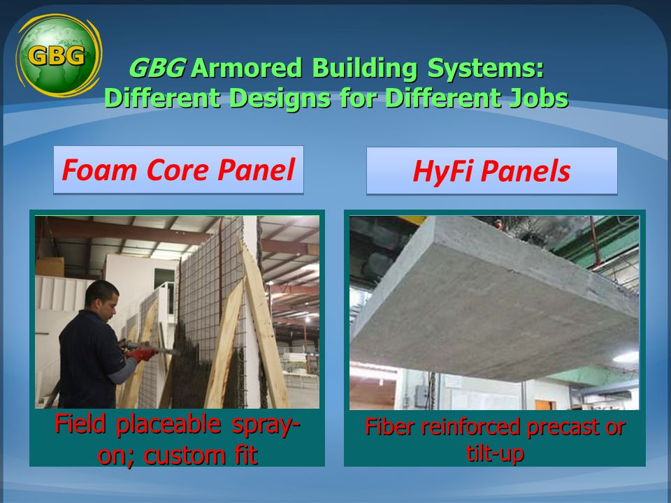 GBG Armored Building Systems: Different Designs for Different Jobs Field placeable spray- on; custom fit Fiber reinforced precast or tilt-up Foam Core Panel HyFi Panels
