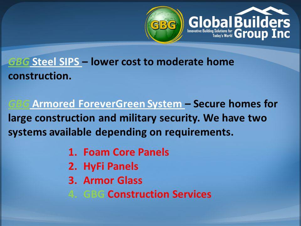 GBG ForeverGreen System  CSIP - Insulated Construction Panels ::: Concrete Structural Insulated Panels (CSIP) that enable rapid construction of homes and buildings.