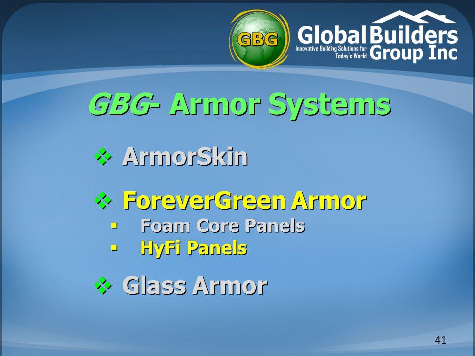 GBG- Armor Systems 41  ArmorSkin  ForeverGreen Armor  Foam Core Panels  HyFi Panels  Glass Armor
