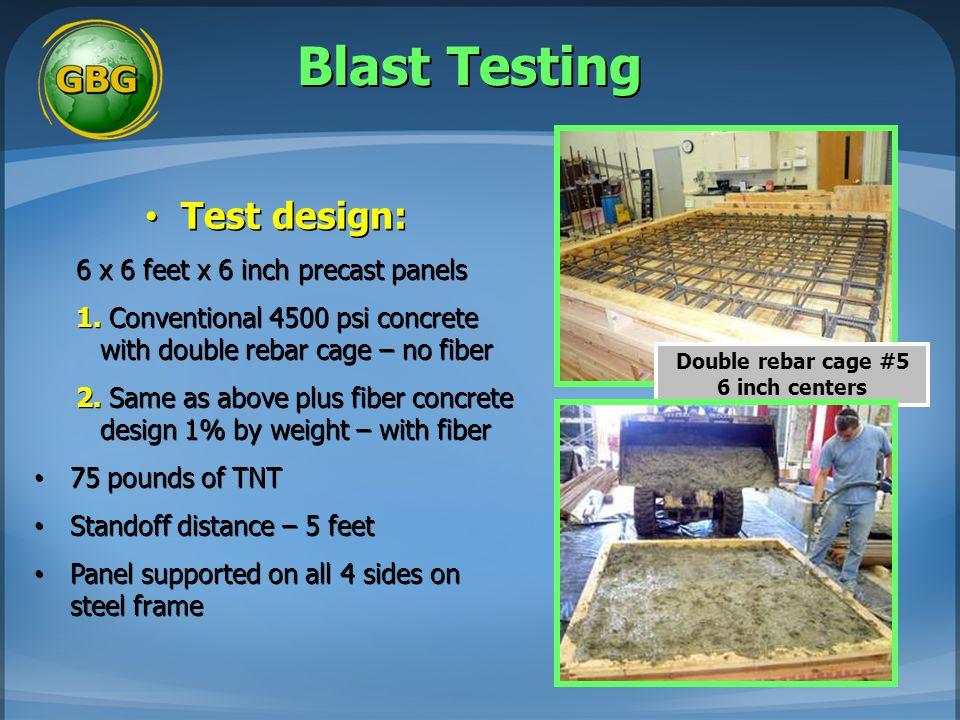 Blast Testing Test design: Test design: 6 x 6 feet x 6 inch precast panels 1. Conventional 4500 psi concrete with double rebar cage – no fiber 2. Same