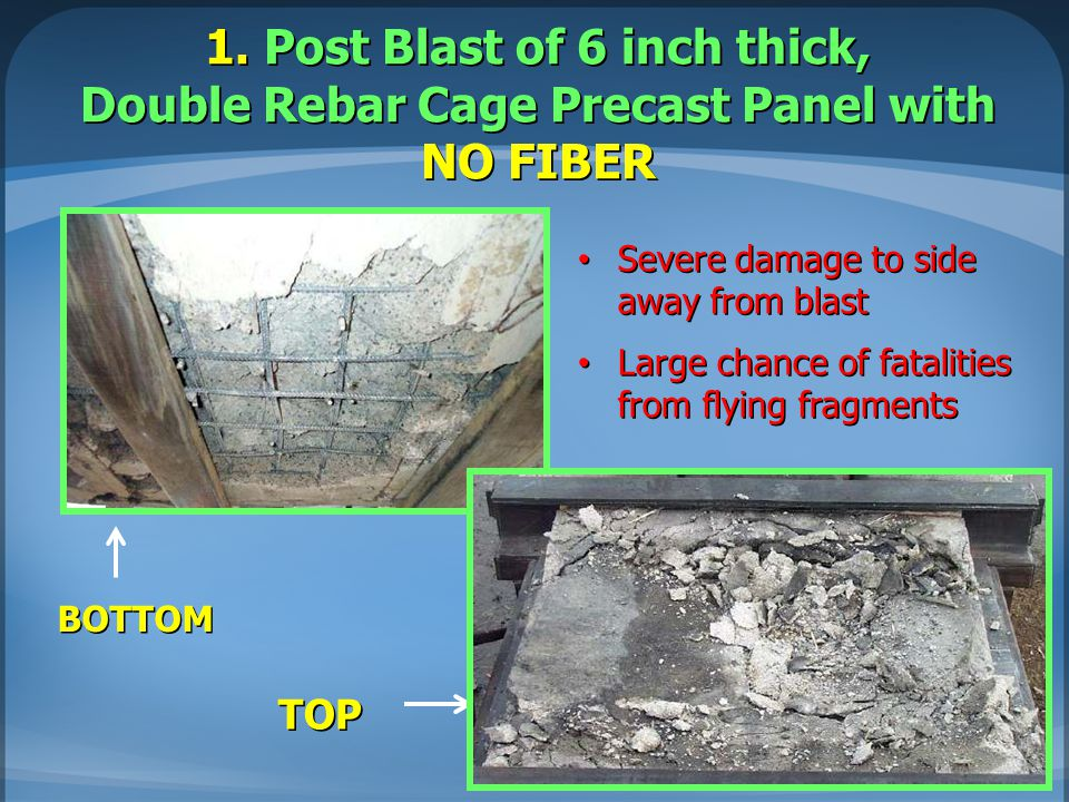 1. Post Blast of 6 inch thick, Double Rebar Cage Precast Panel with NO FIBER BOTTOM TOP Severe damage to side away from blast Severe damage to side aw