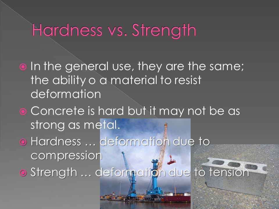  In the general use, they are the same; the ability o a material to resist deformation  Concrete is hard but it may not be as strong as metal.  Har