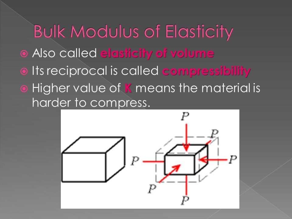 elasticity of volume  Also called elasticity of volume compressibility  Its reciprocal is called compressibility K  Higher value of K means the mat