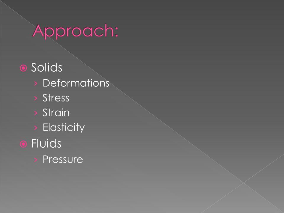  Solids › Deformations › Stress › Strain › Elasticity  Fluids › Pressure