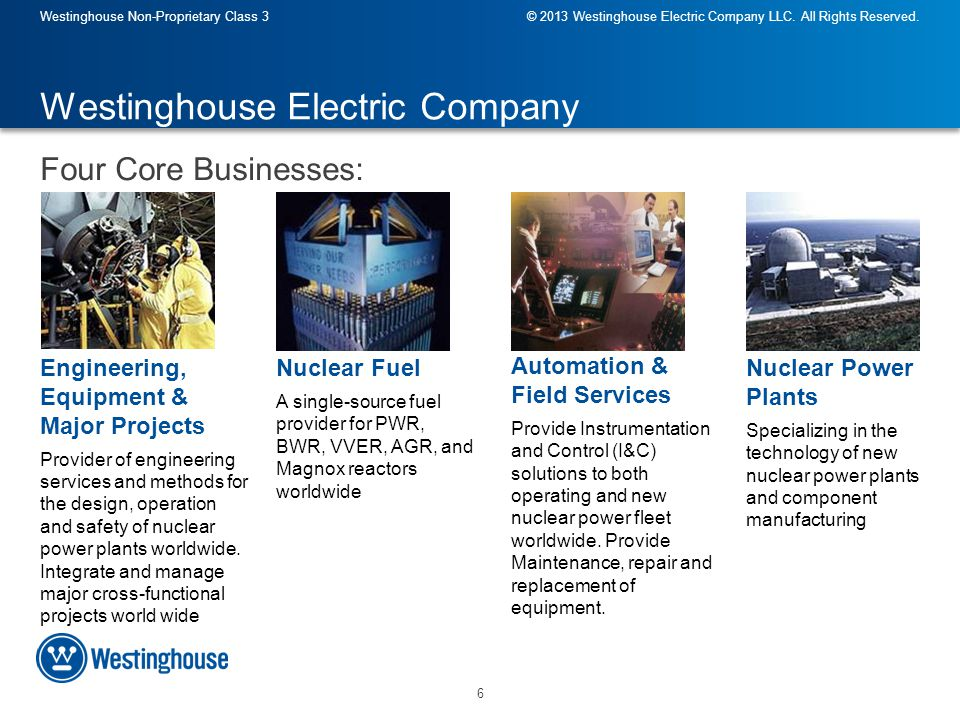 17 Westinghouse Non-Proprietary Class 3© 2013 Westinghouse Electric Company LLC.