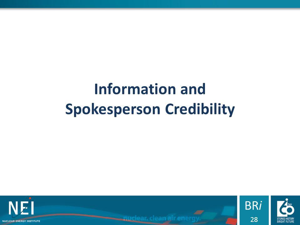 Information and Spokesperson Credibility BRi 28