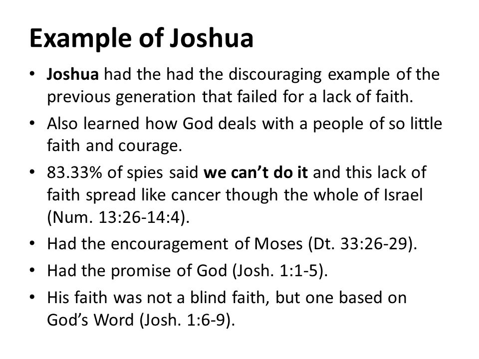 Example of Joshua Joshua had the had the discouraging example of the previous generation that failed for a lack of faith.