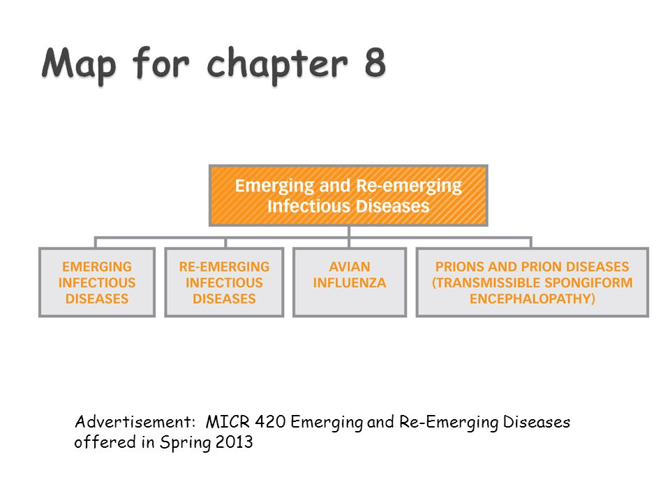  Emerging infectious diseases ◦ Infectious diseases whose incidences have increased over the past 30 years or threaten to increase ◦ Includes new pathogens not observed before  Mutated viruses ◦ Includes diseases whose etiology was not established before  Re-emerging infectious diseases ◦ Infectious diseases we once thought to have overcome bounce back
