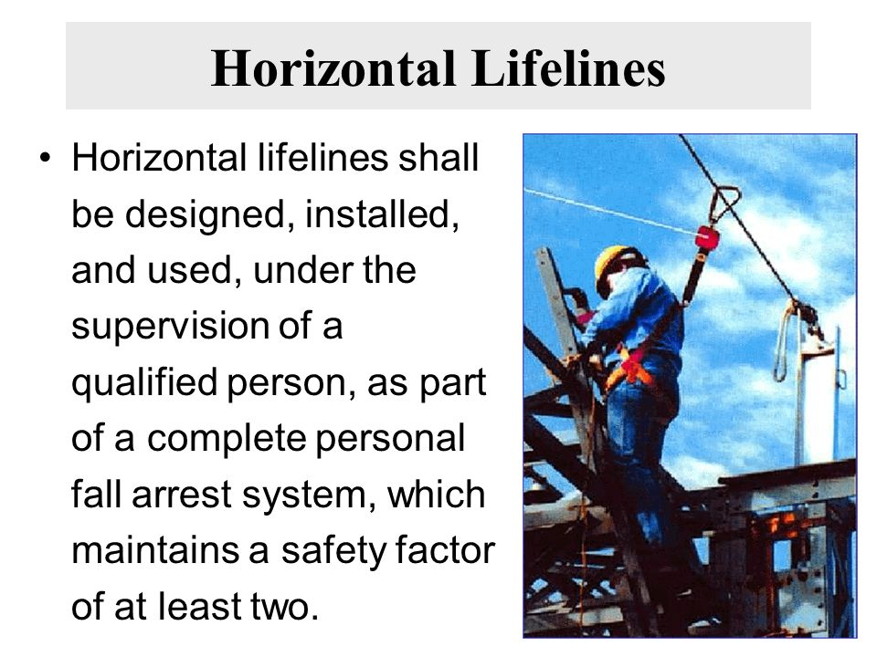 Horizontal Lifelines Horizontal lifelines shall be designed, installed, and used, under the supervision of a qualified person, as part of a complete personal fall arrest system, which maintains a safety factor of at least two.
