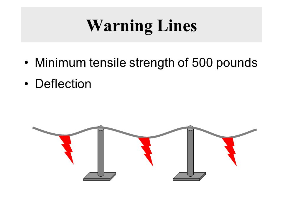 Warning Lines Minimum tensile strength of 500 pounds Deflection