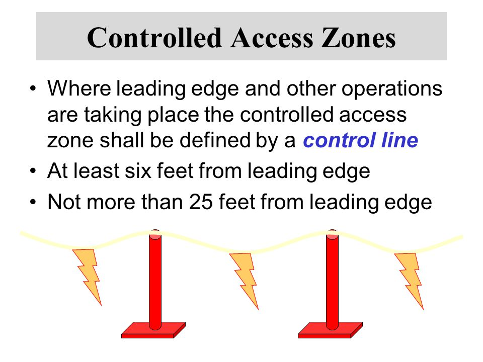 Controlled Access Zones Where leading edge and other operations are taking place the controlled access zone shall be defined by a control line At least six feet from leading edge Not more than 25 feet from leading edge