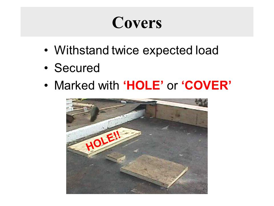 Covers Withstand twice expected load Secured Marked with 'HOLE' or 'COVER' HOLE!!
