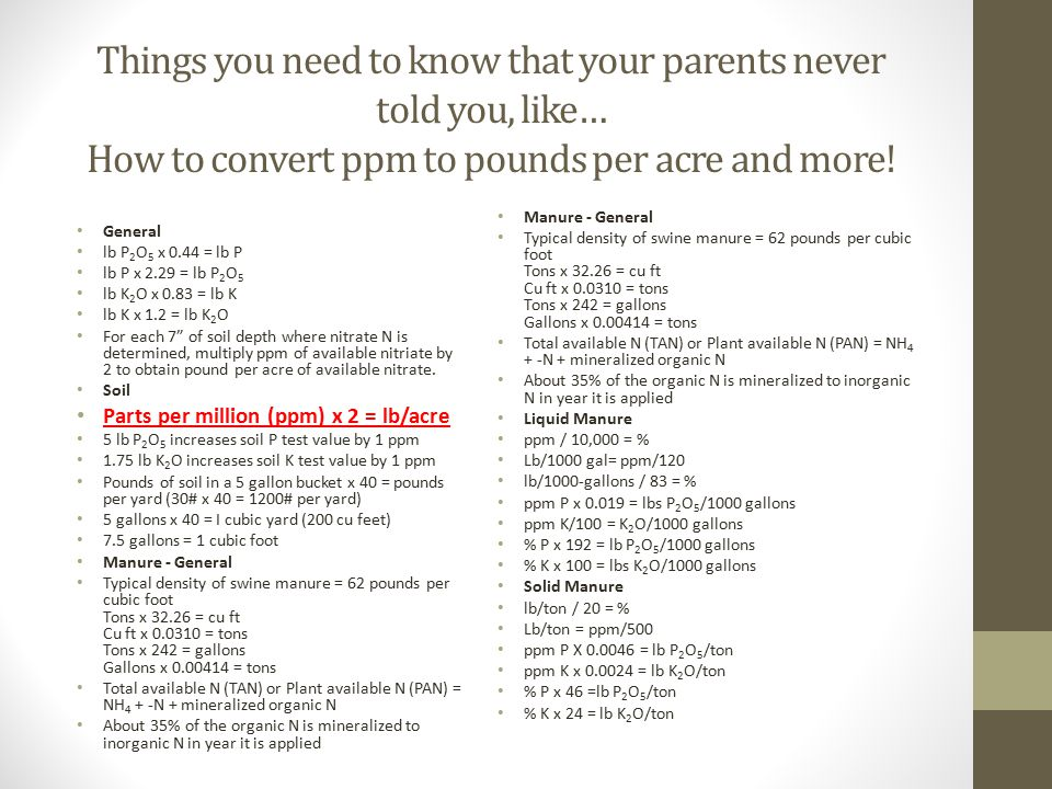 Things you need to know that your parents never told you, like… How to convert ppm to pounds per acre and more! General lb P 2 O 5 x 0.44 = lb P lb P