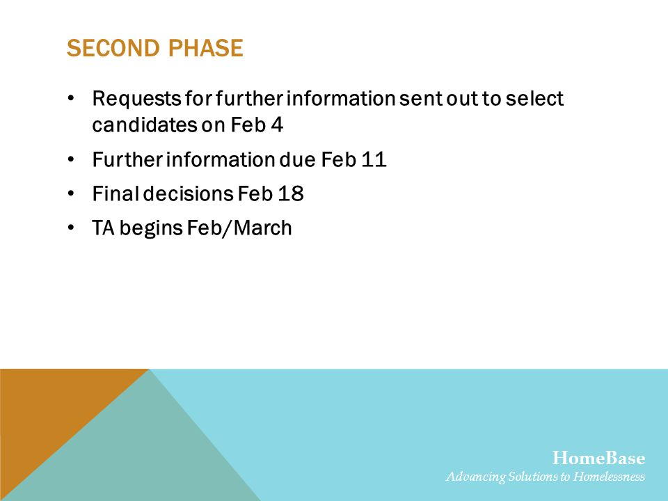 SECOND PHASE Requests for further information sent out to select candidates on Feb 4 Further information due Feb 11 Final decisions Feb 18 TA begins Feb/March HomeBase Advancing Solutions to Homelessness