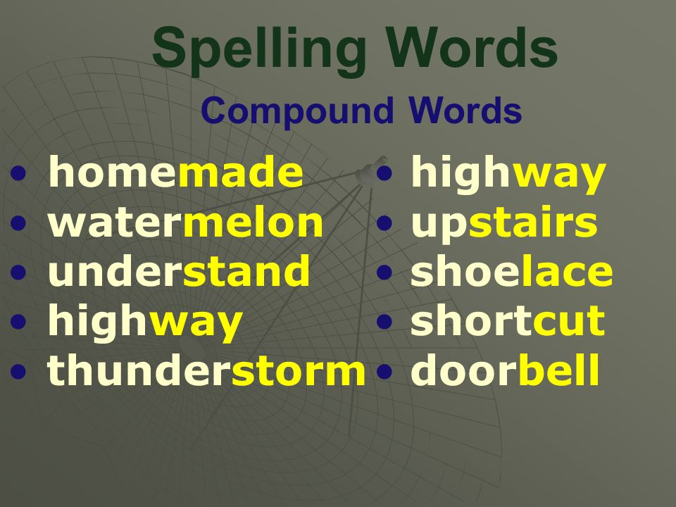 Spelling Words Compound Words homemade watermelon understand highway thunderstorm highway upstairs shoelace shortcut doorbell
