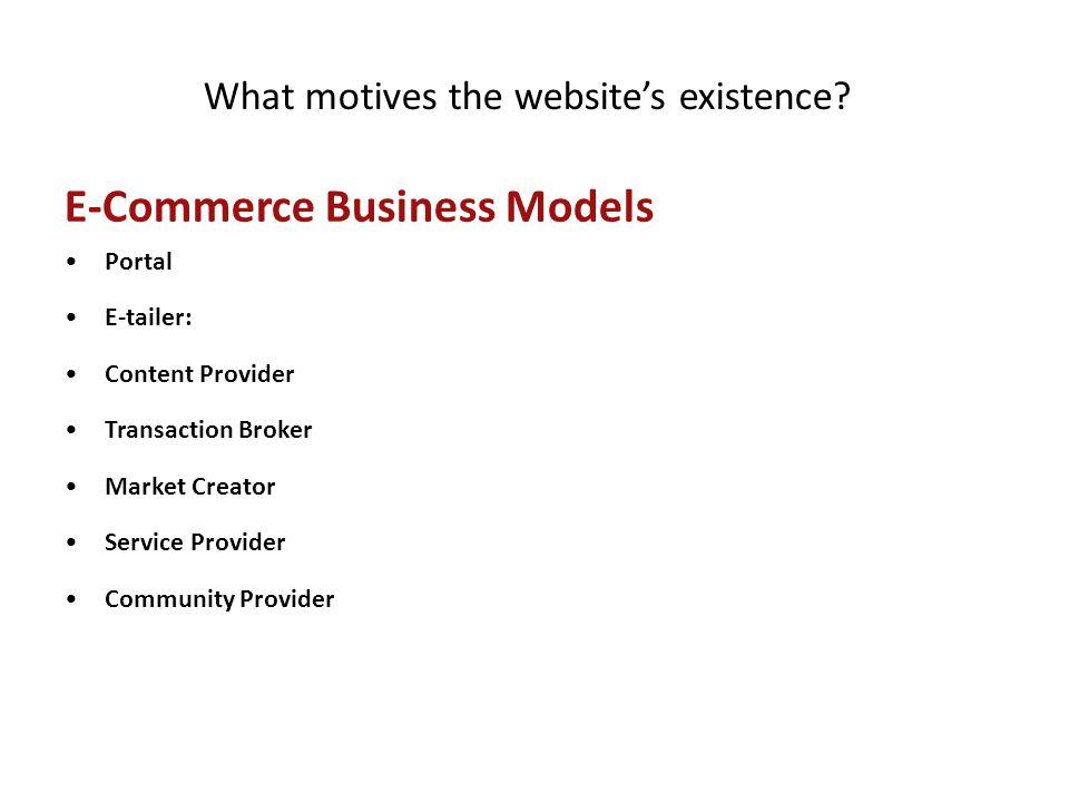 E-Commerce Business Models Portal E-tailer: Content Provider Transaction Broker Market Creator Service Provider Community Provider What motives the we