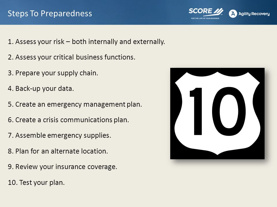 1.Assess Your Risk – Internally & Externally What types of emergencies have occurred in the past.