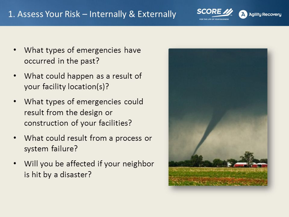 1. Assess Your Risk – Internally & Externally What types of emergencies have occurred in the past.