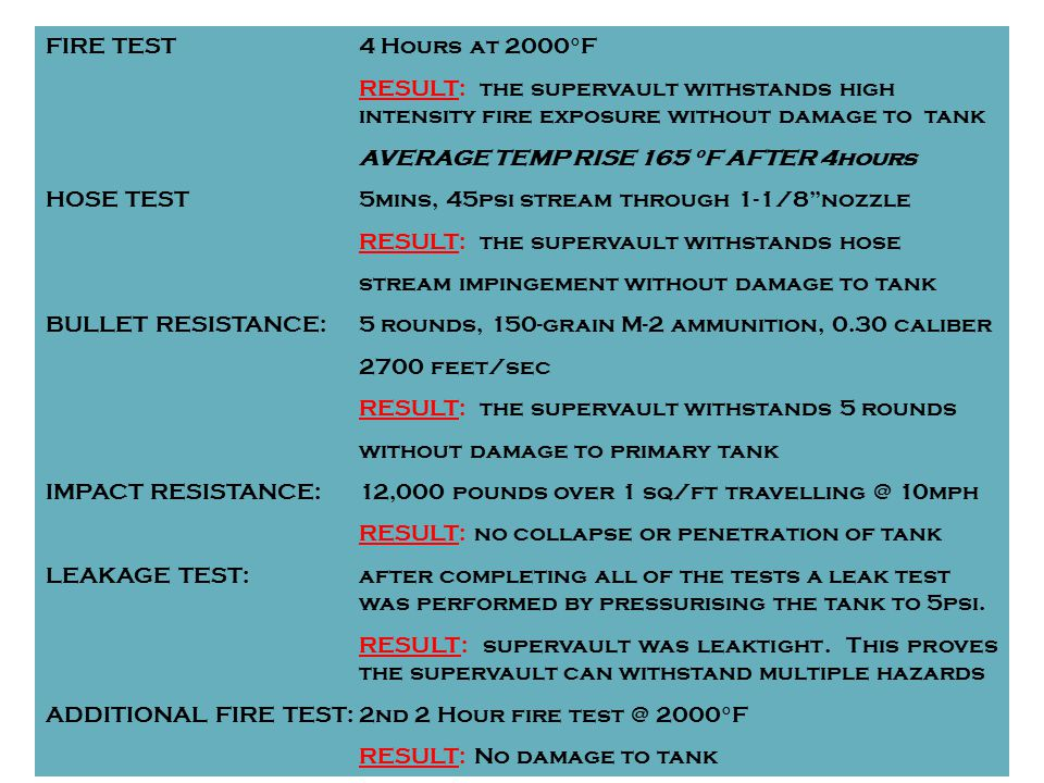 FIRE TEST4 Hours at 2000°F RESULT: the supervault withstands high intensity fire exposure without damage to tank AVERAGE TEMP RISE 165 °F AFTER 4hours