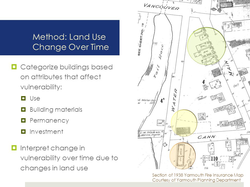 Method: Land Use Change Over Time  Categorize buildings based on attributes that affect vulnerability:  Use  Building materials  Permanency  Investment  Interpret change in vulnerability over time due to changes in land use Section of 1938 Yarmouth Fire Insurance Map Courtesy of Yarmouth Planning Department
