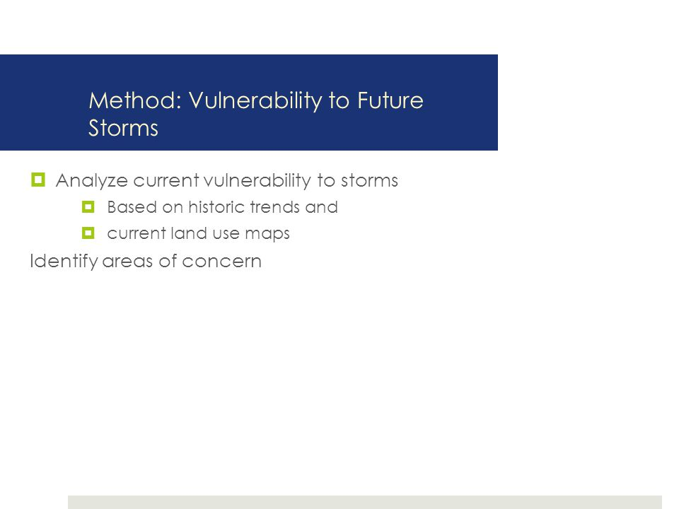 Method: Vulnerability to Future Storms  Analyze current vulnerability to storms  Based on historic trends and  current land use maps Identify areas of concern