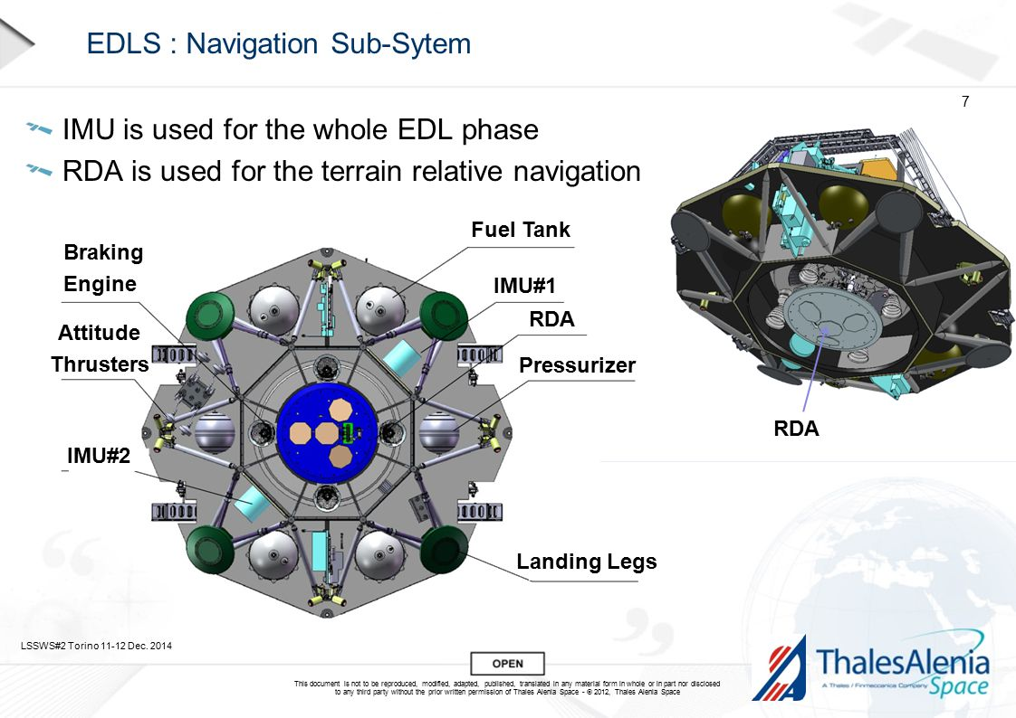 This document is not to be reproduced, modified, adapted, published, translated in any material form in whole or in part nor disclosed to any third party without the prior written permission of Thales Alenia Space -  2012, Thales Alenia Space EDLS : Navigation Sub-Sytem IMU is used for the whole EDL phase RDA is used for the terrain relative navigation LSSWS#2 Torino 11-12 Dec.