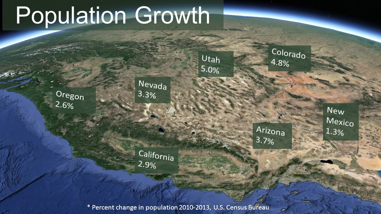Population Growth * Percent change in population 2010-2013, U.S. Census Bureau