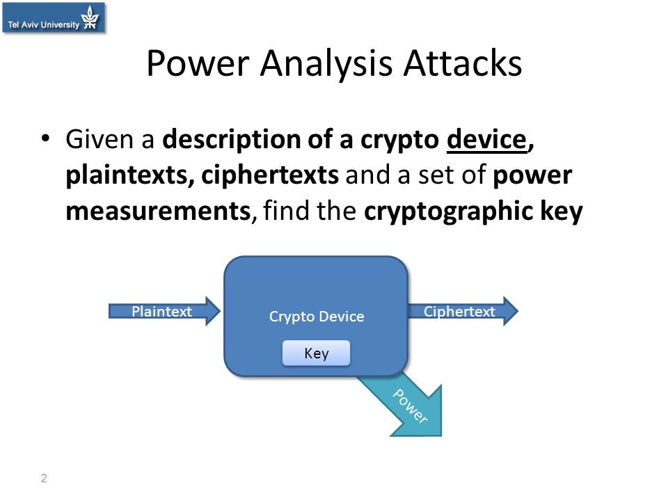 Power Power Analysis Attacks Given a description of a crypto device, plaintexts, ciphertexts and a set of power measurements, find the cryptographic k
