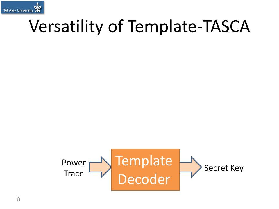 Versatility of Template-TASCA 8 Secret Key Power Trace Template Decoder
