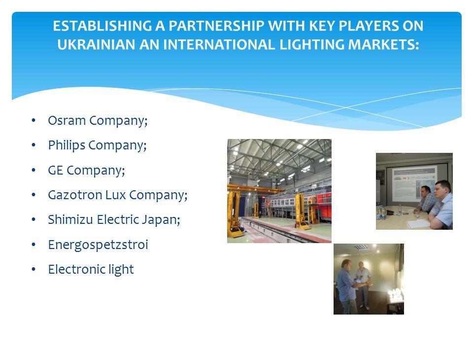 ESTABLISHING A PARTNERSHIP WITH KEY PLAYERS ON UKRAINIAN AN INTERNATIONAL LIGHTING MARKETS: Osram Company; Philips Company; GE Company; Gazotron Lux Company; Shimizu Electric Japan; Energospetzstroi Electronic light