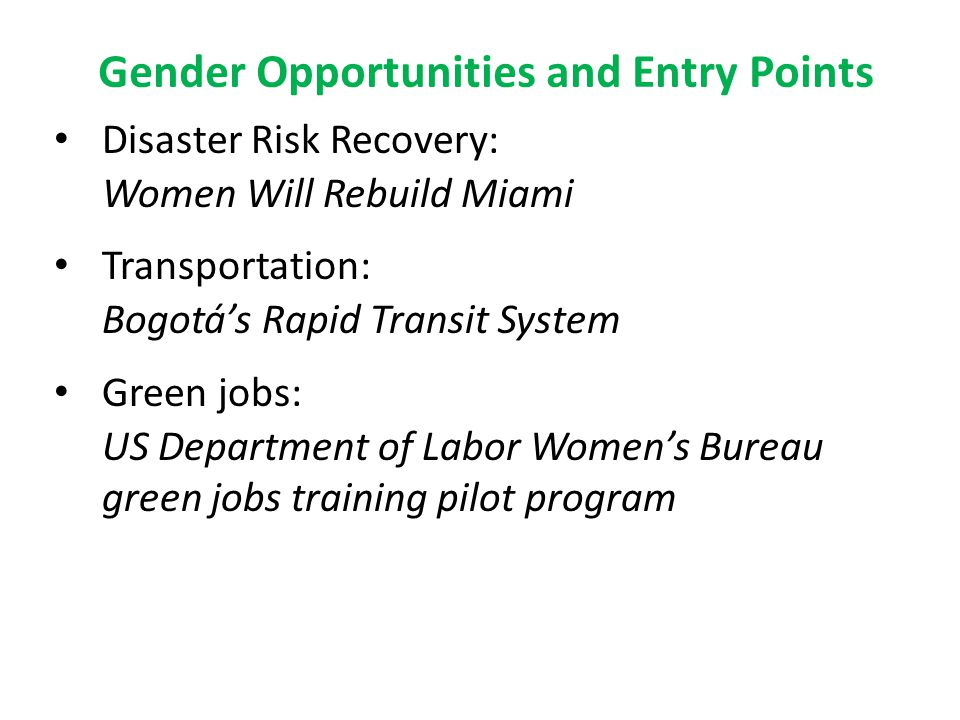 Gender Opportunities and Entry Points Disaster Risk Recovery: Women Will Rebuild Miami Transportation: Bogotá's Rapid Transit System Green jobs: US Department of Labor Women's Bureau green jobs training pilot program
