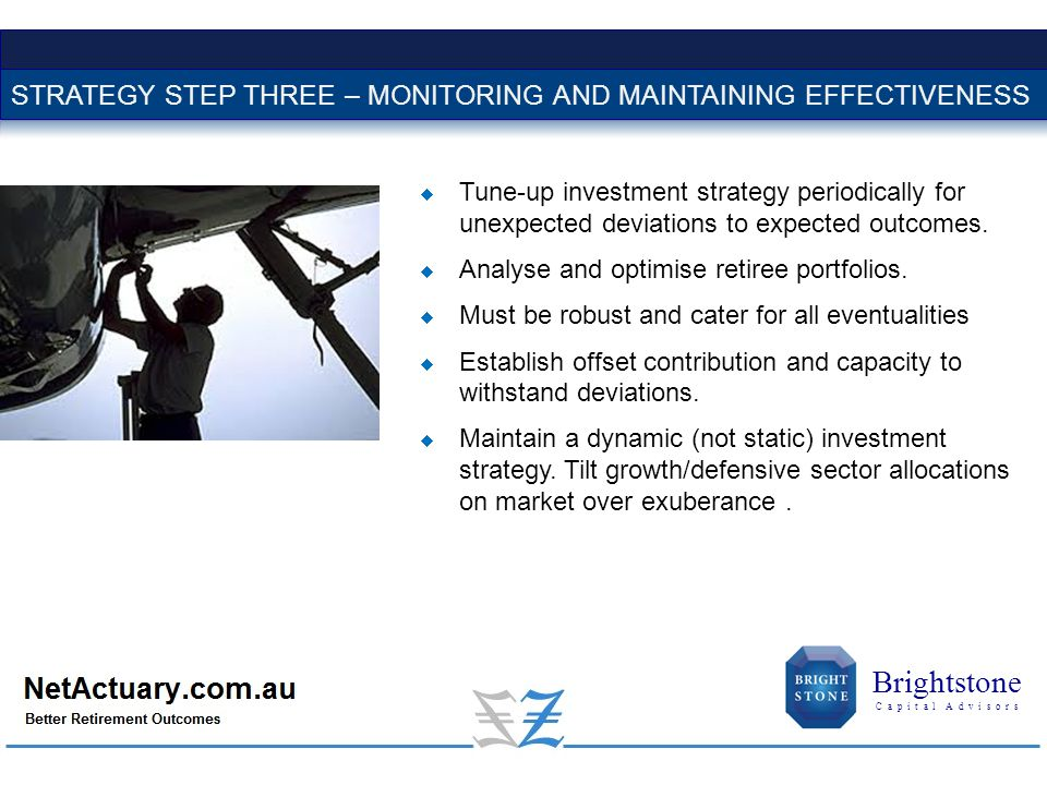  Tune-up investment strategy periodically for unexpected deviations to expected outcomes.