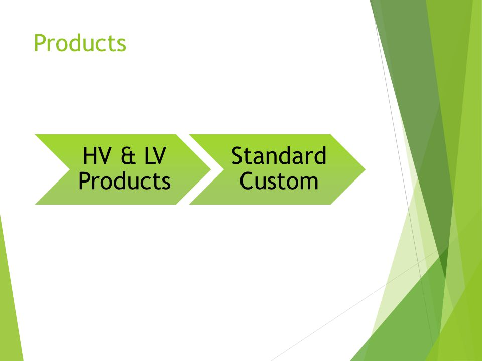 Products HV & LV Products Standard Custom