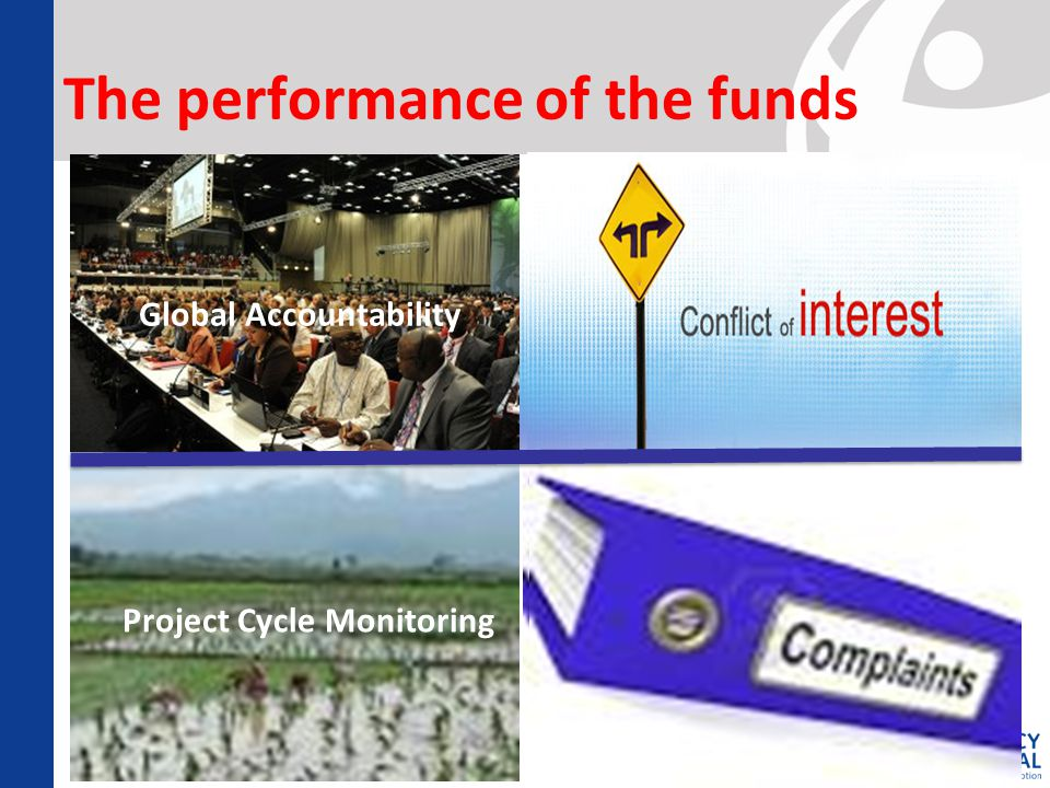 The performance of the funds Global Accountability  Complaints Mechanisms Project Cycle Monitoring