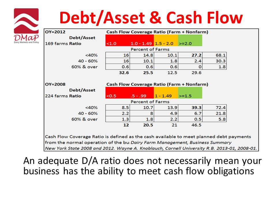 Debt/Asset & Cash Flow An adequate D/A ratio does not necessarily mean your business has the ability to meet cash flow obligations