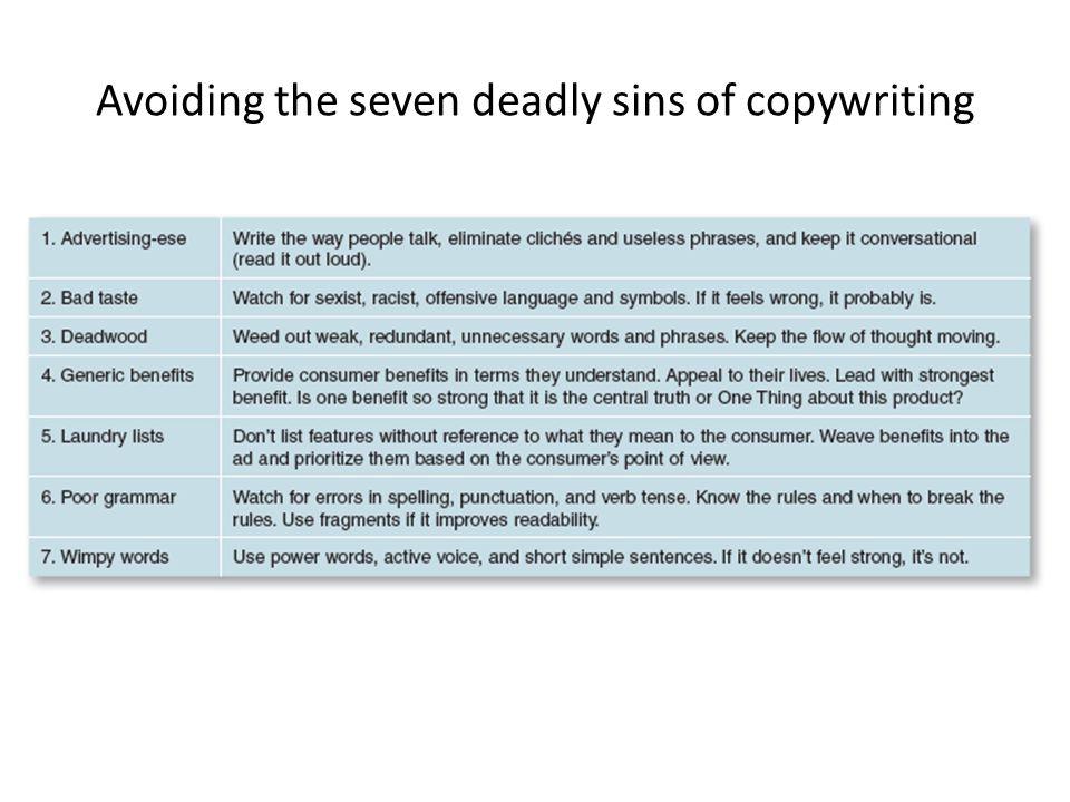 Avoiding the seven deadly sins of copywriting