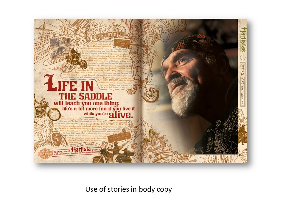 Use of stories in body copy
