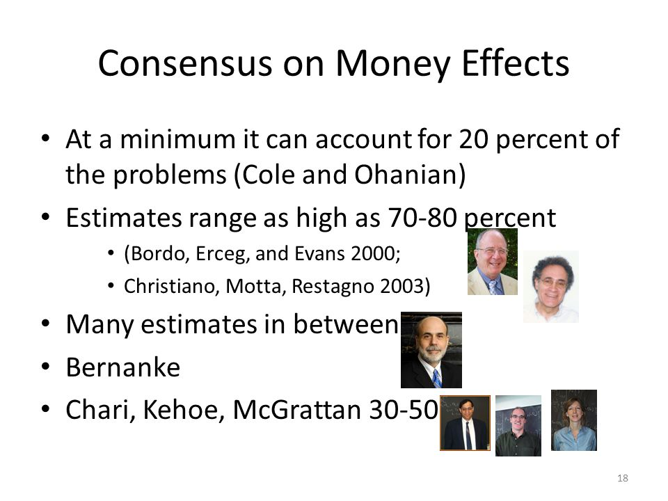 Consensus on Money Effects At a minimum it can account for 20 percent of the problems (Cole and Ohanian) Estimates range as high as 70-80 percent (Bor