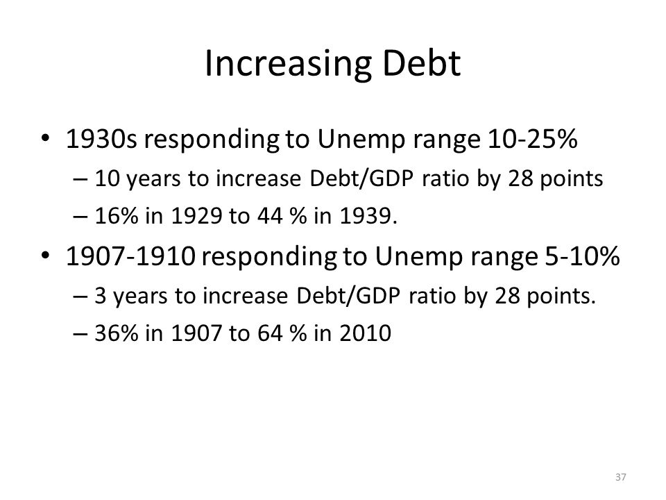 Increasing Debt 1930s responding to Unemp range 10-25% – 10 years to increase Debt/GDP ratio by 28 points – 16% in 1929 to 44 % in 1939. 1907-1910 res