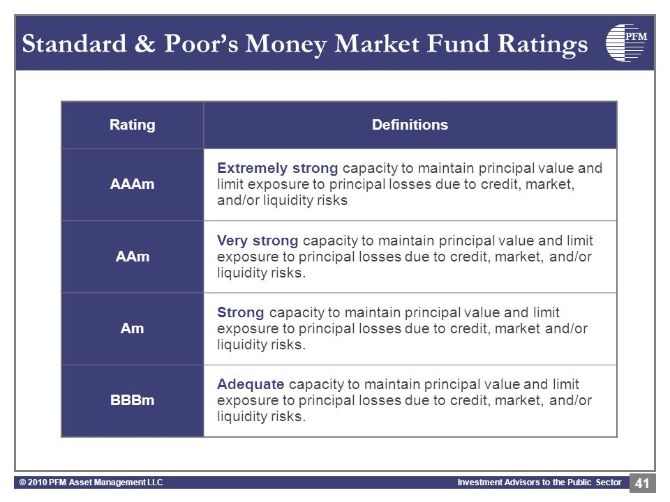 PFM Investment Advisors to the Public Sector Standard & Poor's Money Market Fund Ratings © 2010 PFM Asset Management LLC 41 RatingDefinitions AAAm Extremely strong capacity to maintain principal value and limit exposure to principal losses due to credit, market, and/or liquidity risks AAm Very strong capacity to maintain principal value and limit exposure to principal losses due to credit, market, and/or liquidity risks.