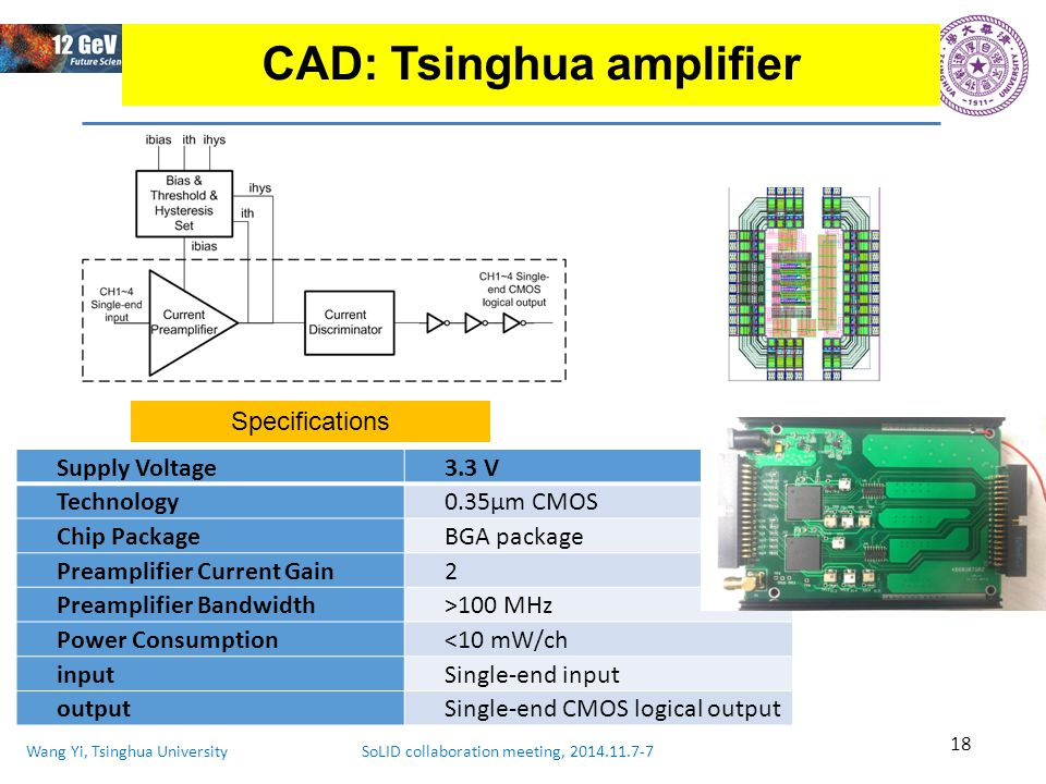 Wang Yi, Tsinghua University SoLID collaboration meeting, 2014.11.7-7 18 CAD: Tsinghua amplifier Supply Voltage3.3 V Technology0.35μm CMOS Chip PackageBGA package Preamplifier Current Gain2 Preamplifier Bandwidth>100 MHz Power Consumption<10 mW/ch inputSingle-end input outputSingle-end CMOS logical output Specifications