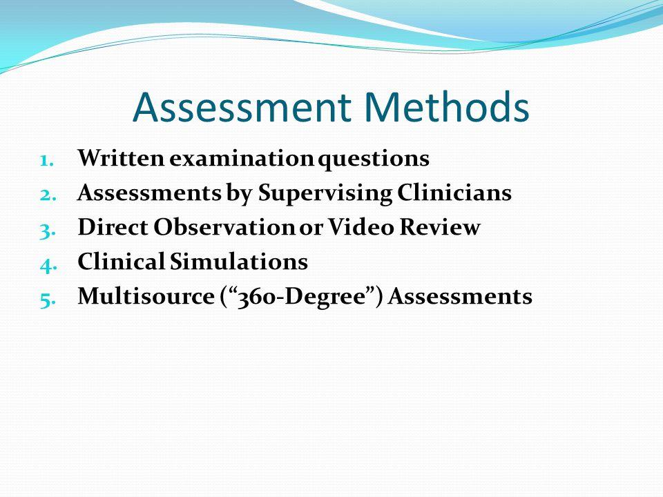 Assessment Methods 1. Written examination questions 2.
